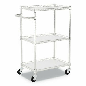 3 shelf Wire Cart With Liners 28 1 2 X 16 X 39 Silver 500 Lbs Capacity