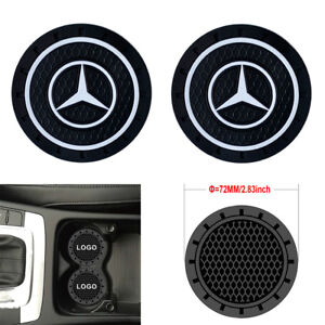 2pcs 2 8 Silicone Car Logo Cup Holder Travel Auto Insert Coaster Mercedes Benz