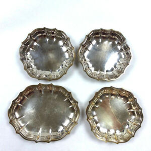 4 Chippendale Silverplate Bonbon Candy Dish Bowl Scallop Edge