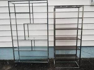 Mid Century Modern Milo Baughman Greek Key Chrome Etagere Shelf Shelving
