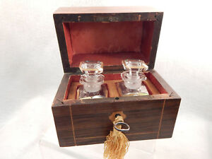 Eyecatching French 2 Antique Perfume Bottles In Wood Chest