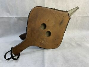 Antique Primitive Leather Bellow Tool For Fireplace Or Wood Burning Stove