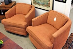 Mid Century Modern Lounge Chairs Swivel Milo Baughman Barrell Back