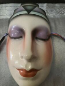 Stunning Vintage Ceramic Art Deco Mask Featuring Beautiful Full Lips
