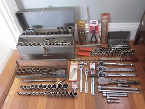 Vtg Nos Craftsman 300pc Ratchet Socket Wrench Pliers Hammer Tool Box Set Lot