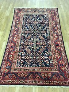 Vintage 4x6 Overall Mahal Semi Antique Wool Hand Knotted Persian Oriental Rug