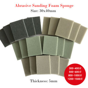 Fine Wet Dry Sponge Foam Polishing Sanding Block Pad Sandpaper 300 1500 Grit New