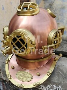 Copper Antique Divers Diving Helmet Us Navy Mark V Boston Decorative Marine Gift