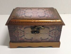 Wooden Wood Box Chest Hand Painted Lined Made In China