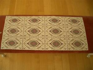 Antique Vintage Petit Point Embroidery Style Alencon Lace Runner Dresser Scarf
