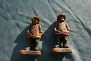 Antique Cast Iron Fisherman Nautical Bookends Doorstops Rare Hands In Pocket 6