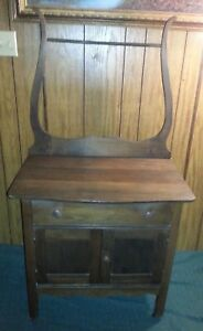 Antique Union Furniture Co High Point Nc Oak Wash Stand Cabinet W Towel Rack