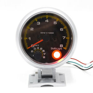 3 3 4 80mm Universal Car Yellow Led Light Pointer Rpm Tachometer Gauge Meter