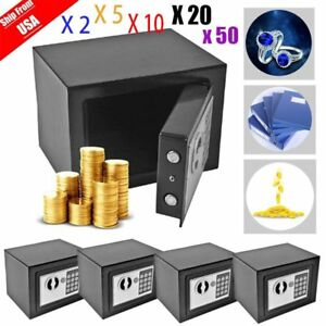 Digital Electronic Home Security Safe Box Keypad Lock Wall Jewelry Cash Black Tn