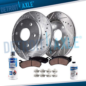 Front 2007 2016 Enclave Traverse Acadia Drilled Rotors Ceramic Brake Pads
