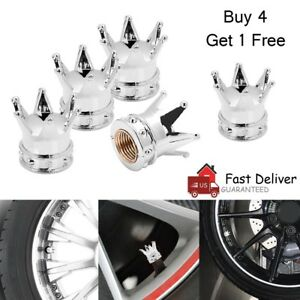 5 Pcs Crown Tire Wheel Tyre Valve Stem Cap Screw Air Dust Cover Sliver Universal