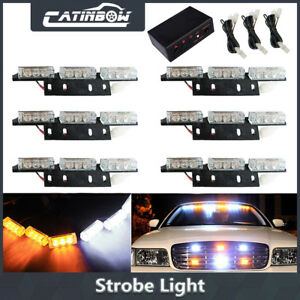 Amber White 54 Led Yellow Emergency Warning Strobe Lights Bars Deck Dash Grill