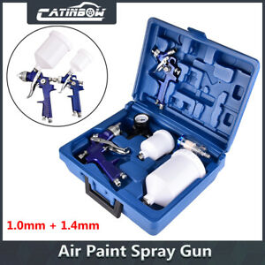 2 Hvlp 1 0mm 1 4mm Air Spray Nozzle Gun Kit Primer Gravity Feed Paint 30 80psi