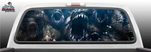 Piranha Biting Teeth Abstract Perforated Rear Window Graphic Decal Suv Truck