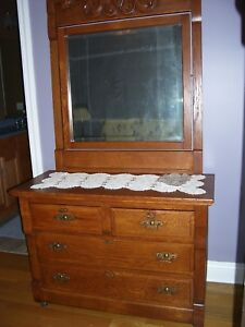 Antique Vintage Oak Dresser With Mirror