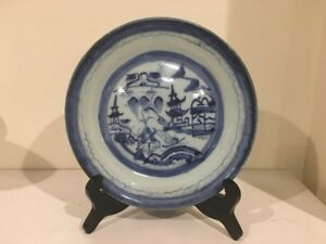 8 5 Antique 18 Th Chinese Export Canton Blue White Porcelain Plate