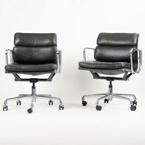Eames Herman Miller Soft Pad Low Aluminum Group Chair Black Leather 2000 S 21x