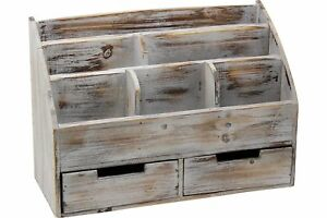 Vintage Rustic Wooden Office Desk Organizer Mail Rack For Desktop Tabletop Or