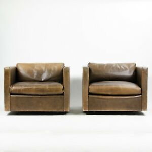 Vintage 1978 Knoll Charles Pfister Brown Leather Armchairs See Matching Sofa