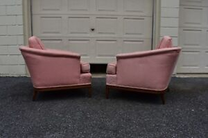 Vtg Mcm Wide Low Club Lounge Chair Pair Henredon 50 S 60 S Broyhill Style