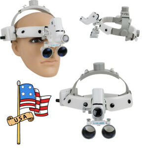 Us 3 5x Medical Surgical Binocular Dental Loupes With 5w Led Headlight Headband