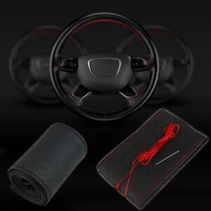 Diy Car Truck Leather Steering Wheel Cover With Needles And Thread Black Red