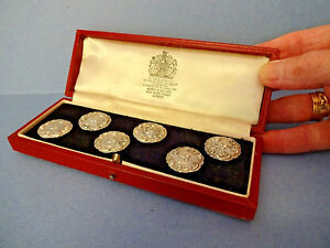 Boxed Set Of Six Asprey Sterling Silver Buttons Birm H M 1903 Levi