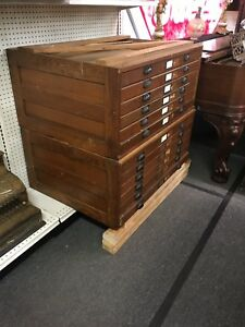 Antique C1920 s Oak 6 Drawer Map Storage Architect Drafting Table W Hardware