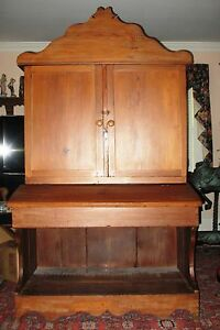 1880s Heart Pine Cupboard Secretary Rustic Primitive Farm House