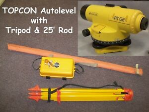 Topcon At g2 Optical Autolevel With Tripod And 25ft Rod Land Survey Equipment