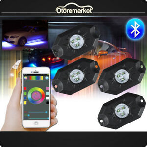 4pcs Rgb Led Rock Light Pods Multicolor Music Flash Strobe Control Bluetooth App