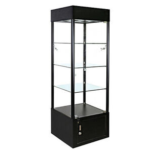 Square Glass Tower Showcase Display Black W lights New York Pickup