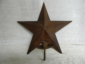 Primitive Country Farmhouse Rusty Tin Star Candleholder Wall Sconce
