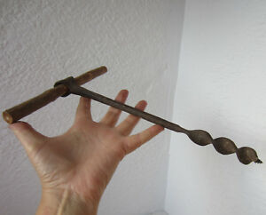 12 Antique Primitive Wrought Iron Manual Auger Hand Drill Bit Wood Tool 4