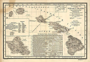 Topographical Map Of The Hawaiian Islands C1893 Repro 24x17