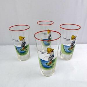 Antique Enameled Glass Tumbler Don T Drink Water Boy Peeing Set Of 4 Goblets