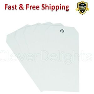 White Plastic Tags 4 75 X 2 3 In Reinforced Metal Eyelet 5 32 In Hole Tear Proof
