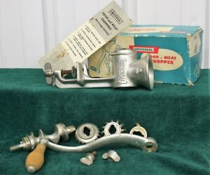 Vintage Universal Meat Food Chopper Grinder 2 With Box Instructions M587