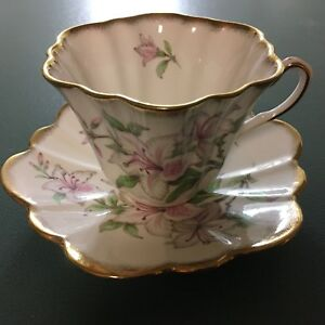 Rosina Floral Pink Lilly Fluted Fine Bone China Cup Saucer Vintage