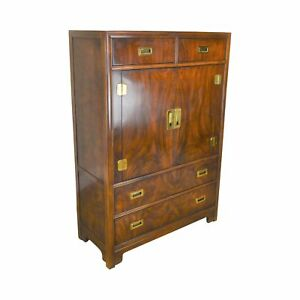 Drexel Dynasty Collection Mahogany Campaign Style Gentlemans Tall Chest
