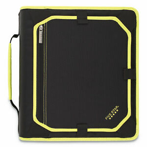 Zipper Binder And Expansion Panel 3 Rings 2 Capacity 11 X 8 5 Black yellow