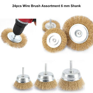 New 24pcs Metal Wire Wheel Cup Brush Crimped 6mm Shank For Die Grinder Drill