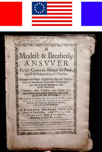 1644 Richard Mather New England Church Bay Psalm Book Bible Cotton Witch Trials