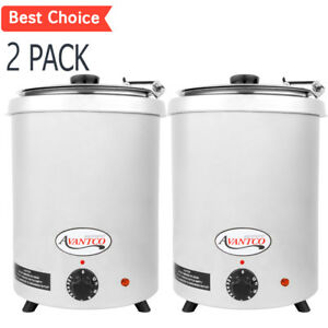 2 Pack 6 Qt Stainless Steel Soup Kettle Warmer Commercial Nacho Cheese 10 Can