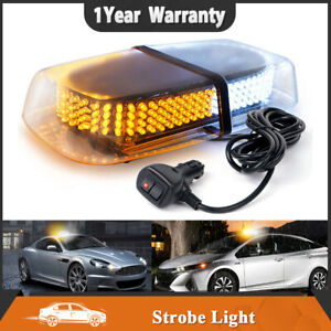 24 Led Oval Flash Strobe Light Bar Amber Roof Top Emergency Hazard Lamp Yellow